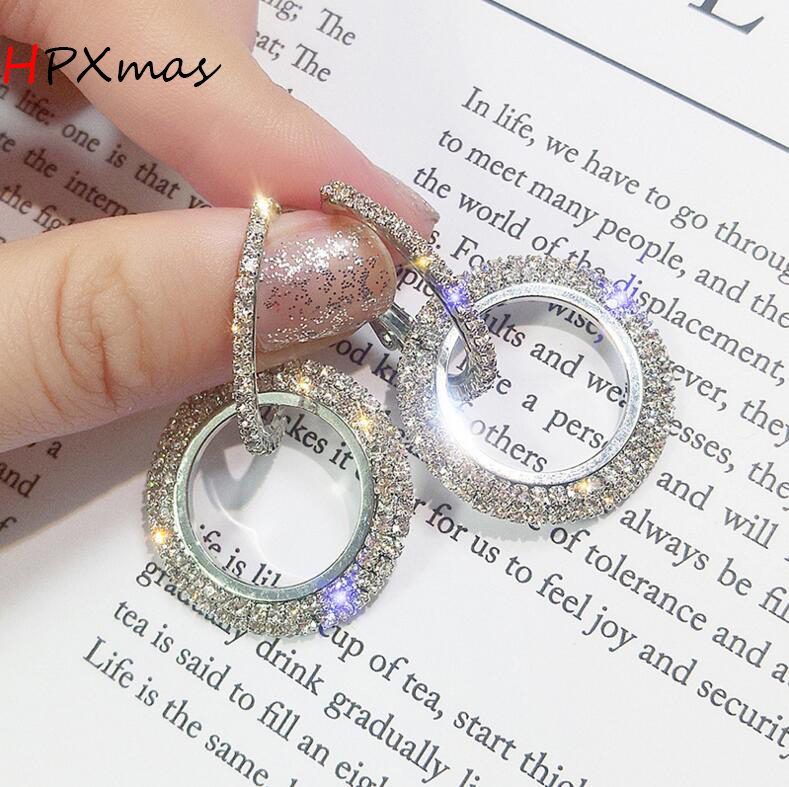 HPXmas Fashion Circle Round Crystal Earrings Golden and Silver Earrings Wedding Party Jewelry for Woman Ladies A9