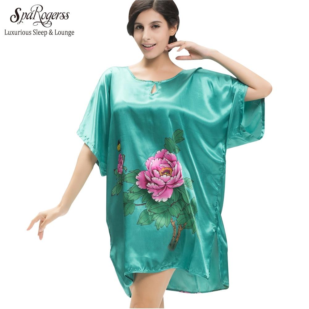 8e878849d SpaRogerss Nova Arrvival Estilo Verão Faux Silk Bath Robe Longue das Mulheres  Pijamas 2017 Peônia Floral Impressão Senhoras Sono Topo YT227