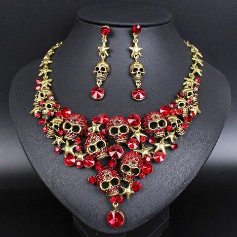 Dropwow Vintage Skull Jewelry Sets Statement Necklace   Earrings ... 422aa0cd15ea