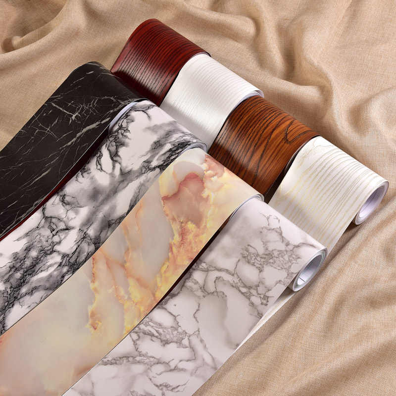 0.1*5M For Kidroom Vinyl Wall Stickers Marble Self adhesive Wallpaper Border Bathroom Waterproof Waist Lines PVC Wallpaper Roll