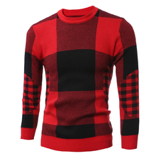 2017 Hit color Thick Knitted Sweater Men Winter Plaid Computer Casual O-neck Pullovers high quality autumn sweater Red&Black