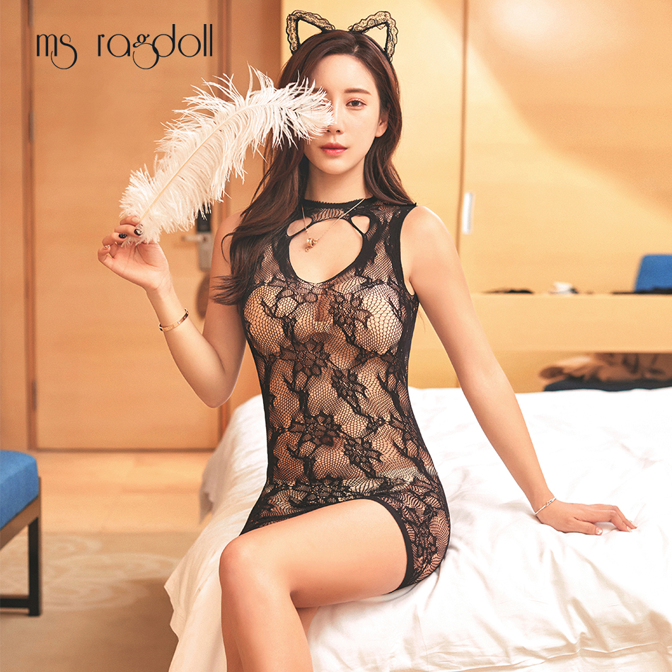 Ms Ragdoll Women Baby Dolls Hollow Out Exotic Apparel Costumes Porno Lace Sexy Underwear Black Stocking Mujer Intimate Sleepwear