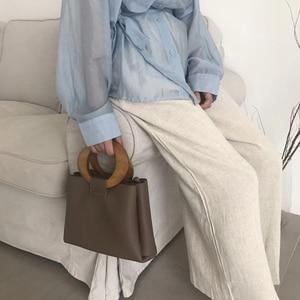 Image 3 - Casual Wooden Top handle Handbags Womens Shoulder Bags Pu Leather Ladies Hand Bags Famous Brands Women Handbags 2020 Hots Bolsa