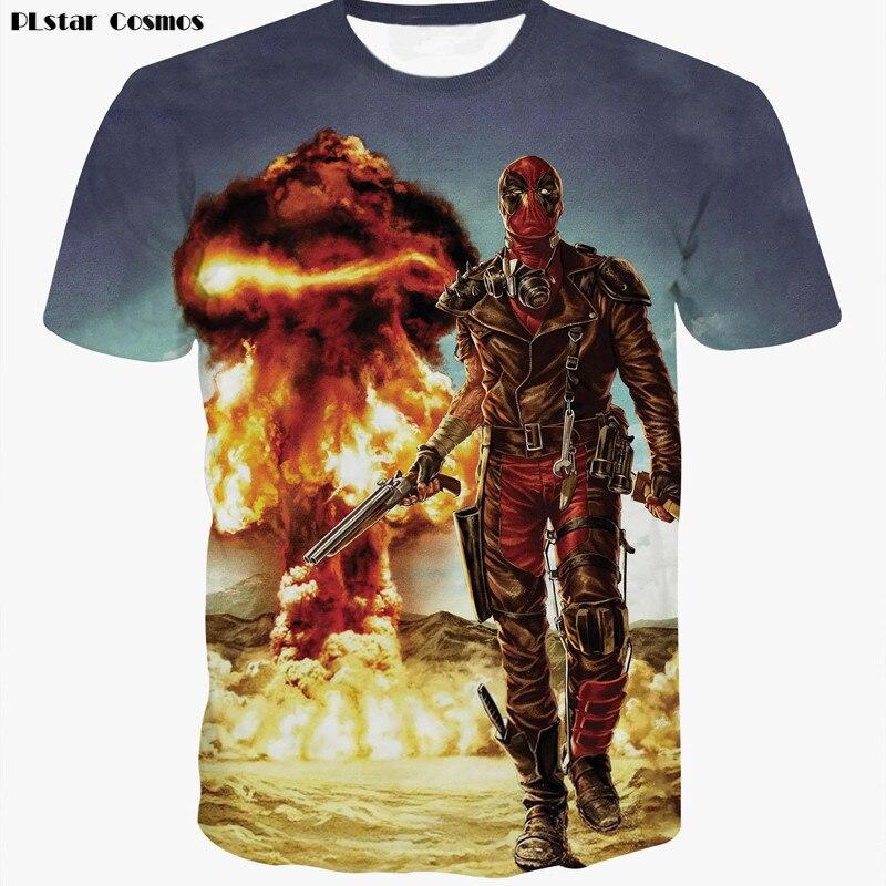 New Fashion American Anime Comic Badass Deadpool T Shirt Unisex Cartoon Print 3D T-shirt Men/Women Tee Shirts Tops