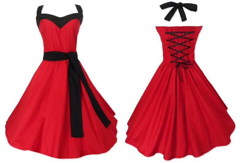 Bride Dress 2016 Short Design Lace Up Backless Prom Red Wedding Party Goth Punk Dresses Revival 50s American Size