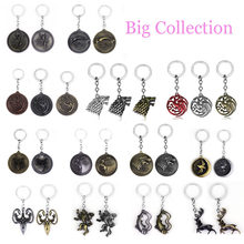 Game of Thrones Keychain set House Stark Wolf Head series Key rings Figure Toys Targaryen Dragon Alloy pendant men jewelry Gifts(China)