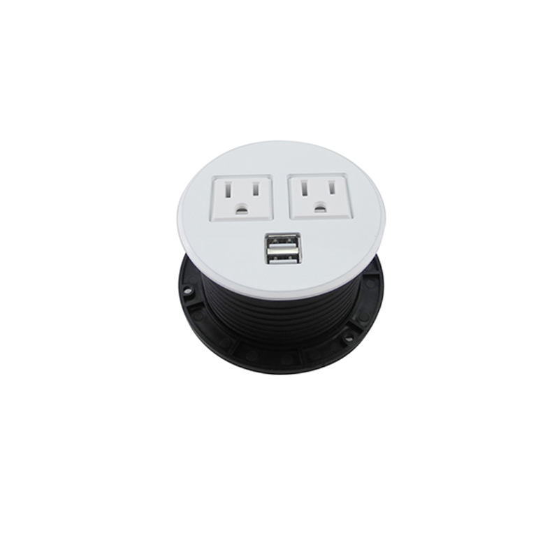 Pulling <font><b>Pop</b></font> Up USB <font><b>Sockets</b></font> With 2 Flat Outlets & 2 USB Ports Safe Hidden <font><b>White</b></font> <font><b>and</b></font> <font><b>Black</b></font> mixcolor for Home Chitchen Hotel Decor image