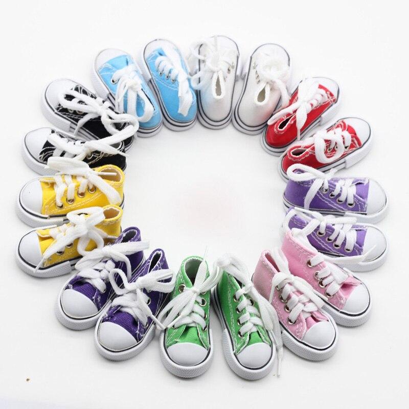 20Pairs lot Doll Accessories Cavans Doll Shoes 7 5CM BJD Doll Shoes 1 4