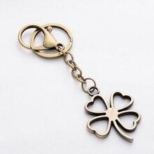 Pretty Clover Fashion Vintage Women Alloy Keychains Car Key Chain Ring Holder Hand Made Bag Charm Pendant Gifts llaveros FY006