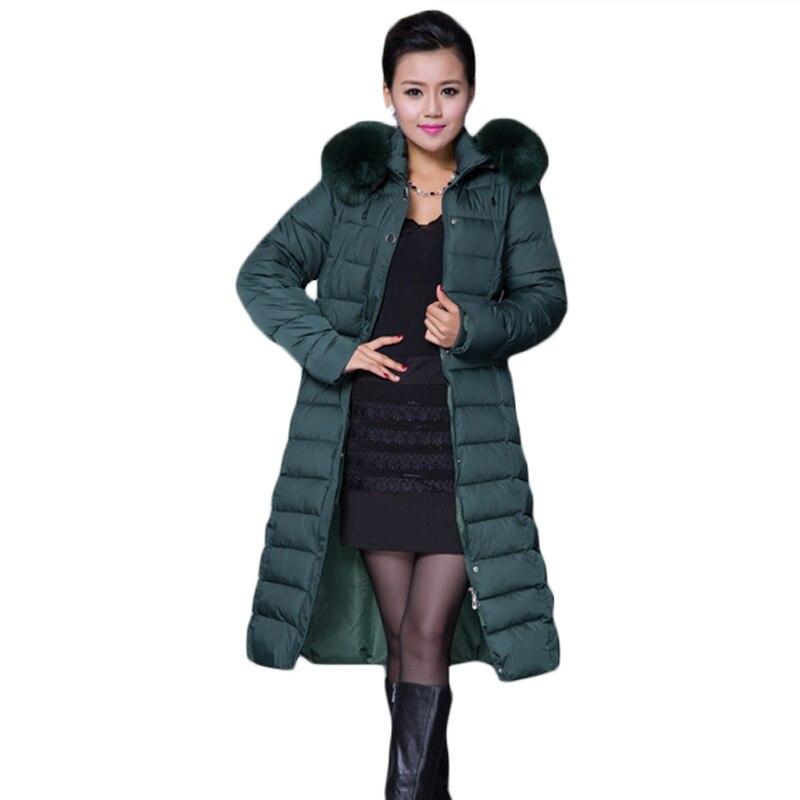Woman Padded Warm Coat Plus Size 5XL Jacket Long Female Overcoat Slim Solid Jackets Mother Winter Fur Hooded Coat   Parkas   XH691
