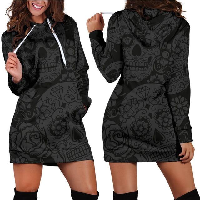 Women Hooded Sweatshirt Pullover Dark Skull Dress