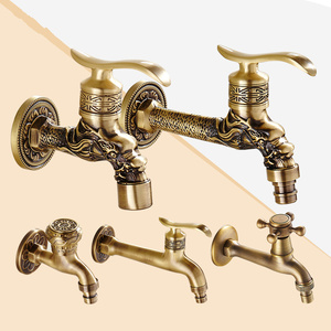 Image 5 - Full Copper Into The Wall Washing Machine Faucet Outdoor Garden Faucet Ceramic Spool Retro Torneira Bathroom Accessories