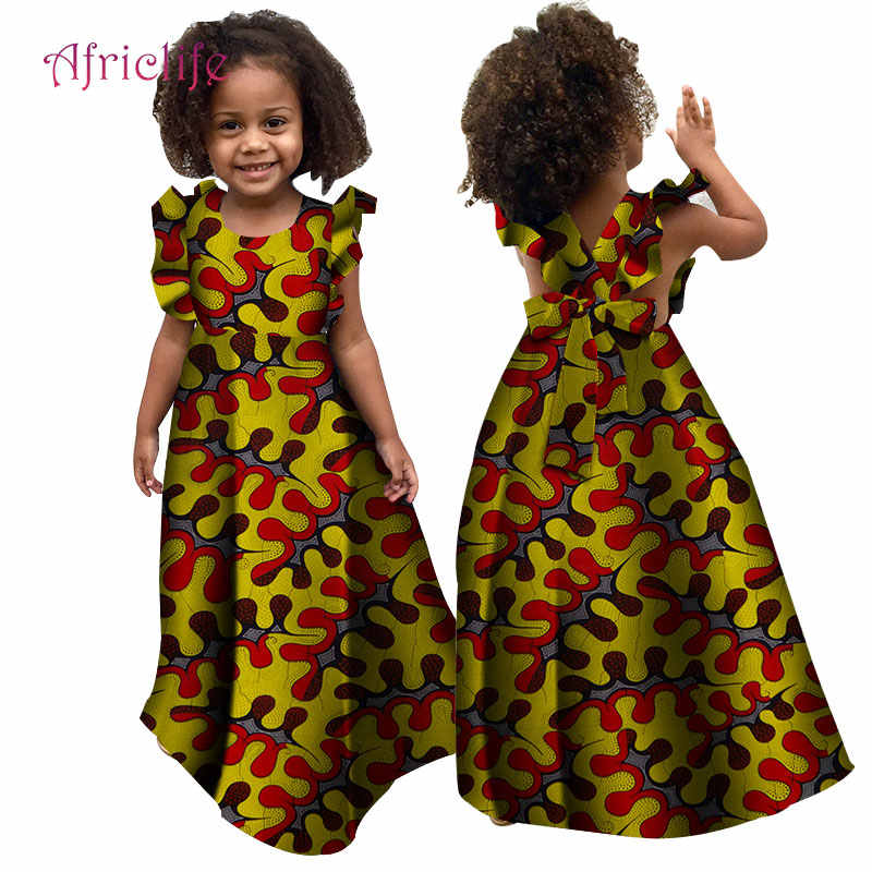 bfd399082ab2d African Summer Girl Dress Kids Dashiki Traditional Cotton Ruffle Sleeve  Dresses Matching Africa Print Girl Natural Dress WYT307
