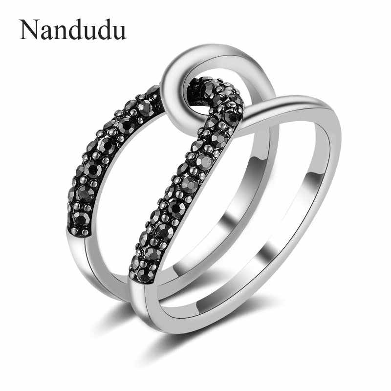 Nandudu Marcasite Black Curved Rings for Women Girl Lady Thai Silver Jewelry Gift Ring Accessories for Party Wedding R2132
