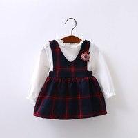 طفلة طويلة الأكمام الربيع فساتين توتو الوليد القطن قميص أزياء الأميرة ثوب طفل الفتيات عيد تزيين 0-24 متر