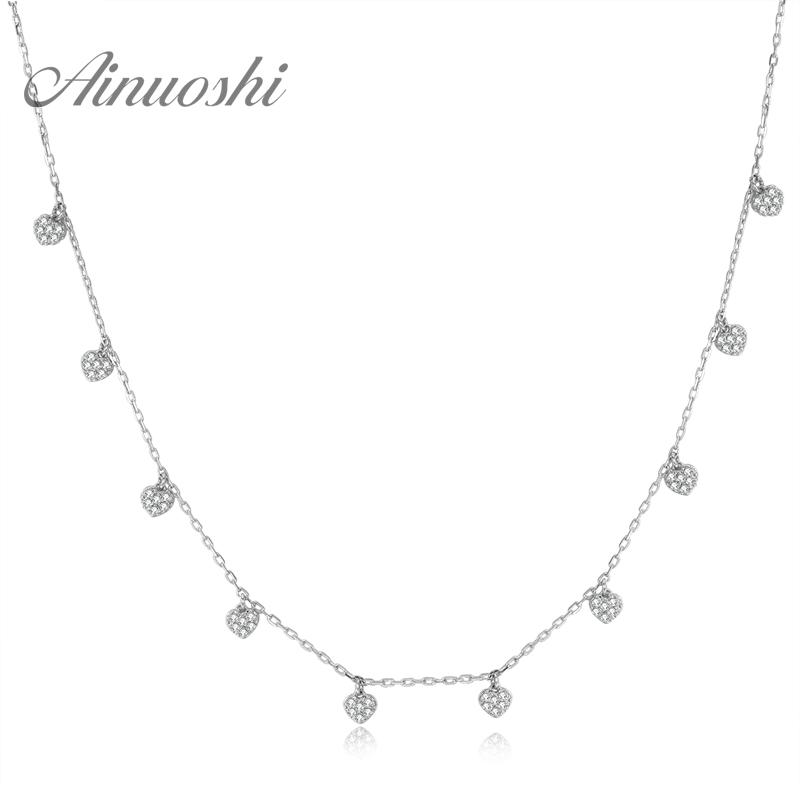 AINUOSHI 18K White Gold /Yellow Gold /Rose Gold Natural Diamond Pendant Necklace Heart Shape Pendant Chain Jewelry for Women