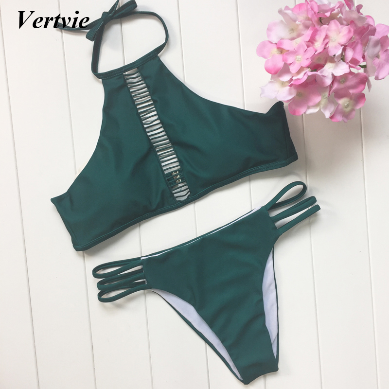 Vertvie Women Girl Sexy High Collar Bikinis Set Dark Green Braided Rope Hollow Out Swimwear For Summer Beach Party Bathing Suit vertvie sexy solid bangdage bikini set green hollow out push up braided rope swimsuit women 2017 summer beach party bathing suit