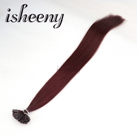 Isheeny 18 Remy Keratin Fusion Hair Extensions Burgundy Natural European Human Hair On U Tip 50pcs USA Domestic Return