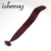 Isheeny 18 Remy Keratin Fusion Hair Extensions Burgundy Natural European Human Hair On U Tip 50pcs USA Domestic Return