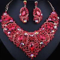 Free Shipping Fashion Trendy Nigerian Wedding African Beads Jewelry Sets Crystal Necklace Set Party Wedding Dubai