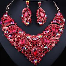Free Shipping,Fashion Trendy nigerian wedding African Beads Jewelry Sets Crystal Necklace Set Party Wedding Dubai Jewelry Set