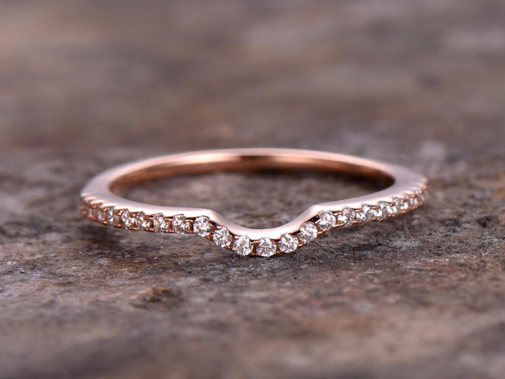 Aliexpress Curved Thin Wedding Ring 925 Sterling Silver Stacking Band Anniversary 1 2mm Width Pave Matching Rose Gold From