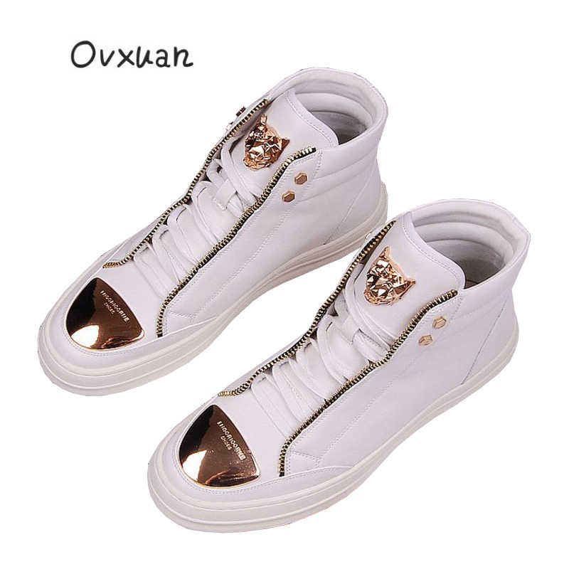 Ovxuan 3D Metalen Leeuw Gezicht Turnschuhe Herren Luxe Metalen Gesp Teen Hoge Enkel Schoenen Mannen Fashion Party & Prom Dress loafers Mannen