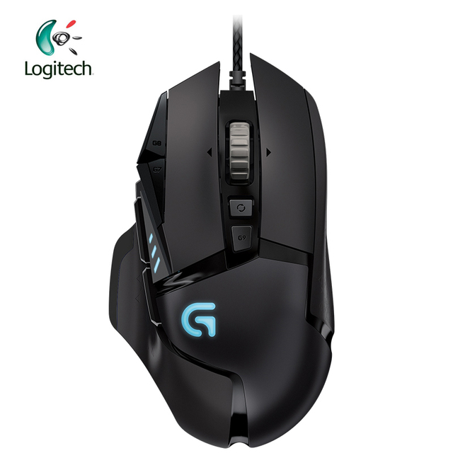 Logitech עכבר G502 גיבור משחקי עכבר עם גיבור מנוע 16K DPI LIGHTSYNC RGB לתכנות מתכונן עבור כל עכבר גיימר