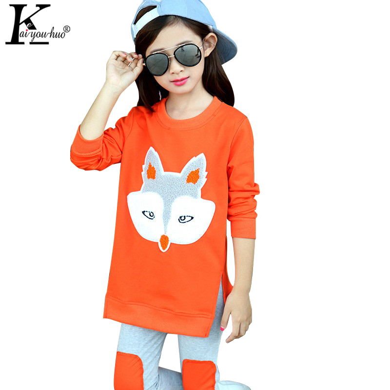 KEAIYOUHUO Girls Sport Suit Children Clothing Christmas Outfits Suits Fox Girls Clothes Sets Cotton Autumn 2017 Costume For Kids алексей бобрусов непостижимы творения твои бестиарий
