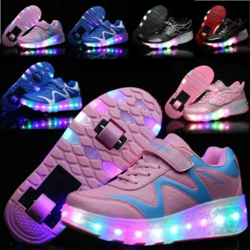 b457ab35 Новый 2018 Jazzy ботинки со светодиодами детей роликовых коньках обувь  взрослых для мальчиков и девочек мигает