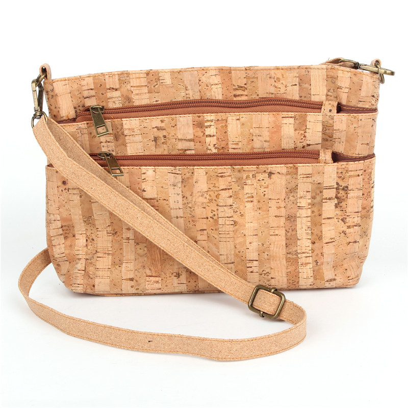 Natural cork handmade Cross Body bag strip skin of tree vegan high quality wooden Eco Bag-150 natural cork watch strap brown cork with pu leather handmade vegan high quality e 001