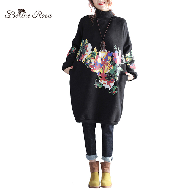Belinerosa 2017 Womens Plus Size Hoodies Dresses Winter Clothes For