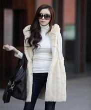 Women fur coat 2016 new hot long section hooded vest fashion faux Womens autumn and winter Black white