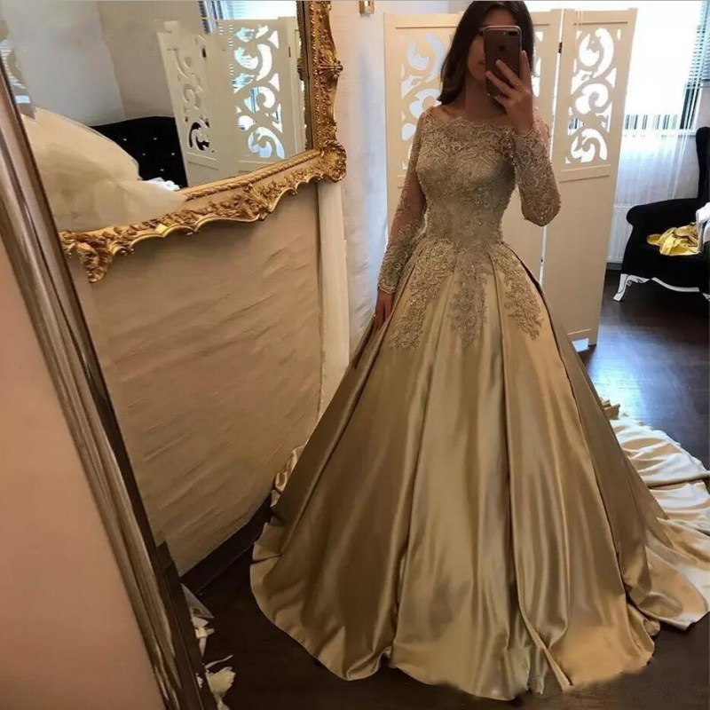 Golden Lace Appliques Long Evening Dress 2020 The Bride Sexy Long Sleeve satin Beading Party Formal Dresses Custom Plus Size