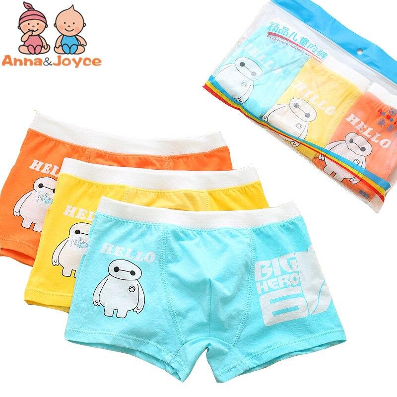 3pc/lot Childrens Underwear Cartoon Character Underwear Organic Cotton Boy Boxer Underwear Soft Boy Panties TNM0079
