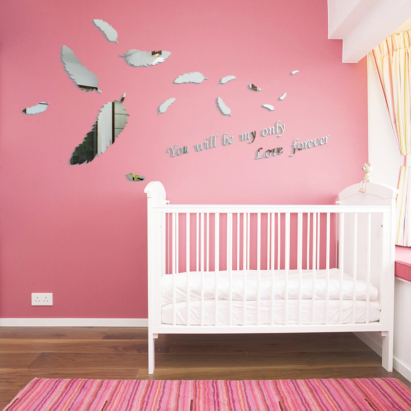 Flying Feather Love Quotes Acrylic Mirror Wall Stickers