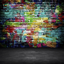 Laeacco Grunge Colorful Brick Wall Floor Pattern Photography Backgrounds Customized Photographic Backdrops For Photo Studio