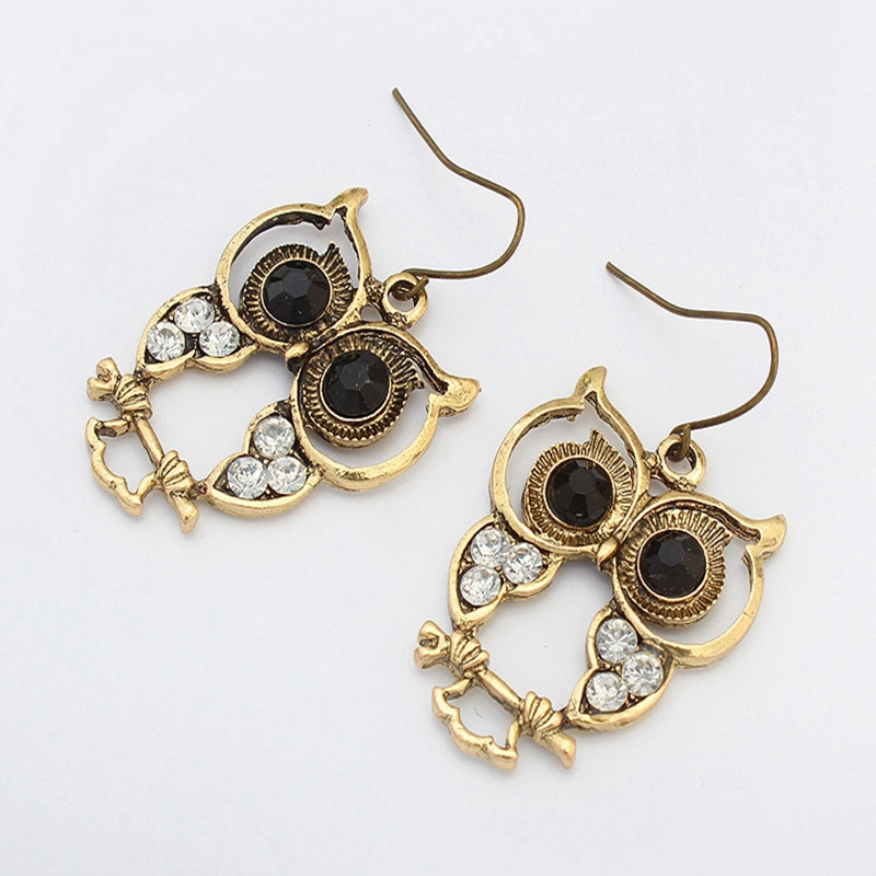 Fashion Owl Inlaid Rhinestone Retro Earrings Classical  Hollow National Wind for Women Gifts Oorbellen Brincos