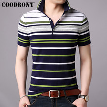 COODRONY Short Sleeve T Shirt Men Business Casual Turn-down Collar Mens 2019 Spring Summer T-shirt Striped Top S95023