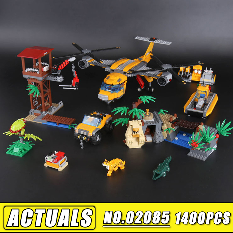 Bei Fen 1400Pcs Lepin City Series 02085 the Jungle Air Drop Helicopter Set Building Blocks Bricks Children Toys Compatible 60162 lepin 02012 city deepwater exploration vessel 60095 building blocks policeman toys children compatible with lego gift kid sets