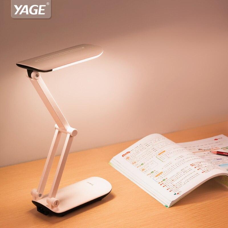 Flexo YAGE levou lâmpadas de mesa Dobrável Lâmpada de mesa LEVOU 800 mAh bateria na Luz Colorida Noite Luz Lâmpada De Mesa flexível para crianças