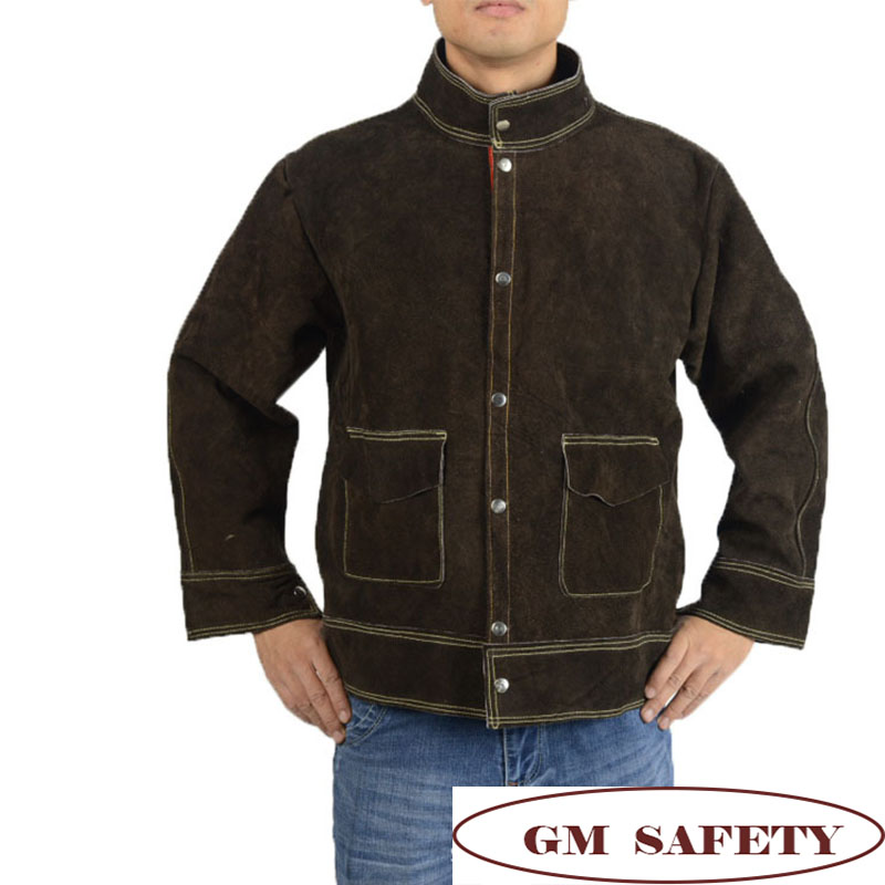 Image 4 - Cow Leather Electric Welding Work Clothes Cowskin Suit for Welders Soldering Protective Work Jackets Men  NL001-in Safety Clothing from Security & Protection