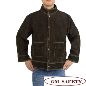 Image 4 - Cow Leather Electric Welding Work Clothes Cowskin Suit for Welders Soldering Protective Work Jackets Men  NL001