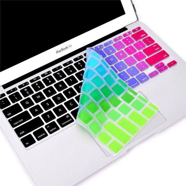 """Para Apple capa teclado do Macbook 11 """" 13 """" 15 """" 17 """" Rainbow Laptop adesivos de teclado eua e ue versão Silicone protetor da pele cobre"""