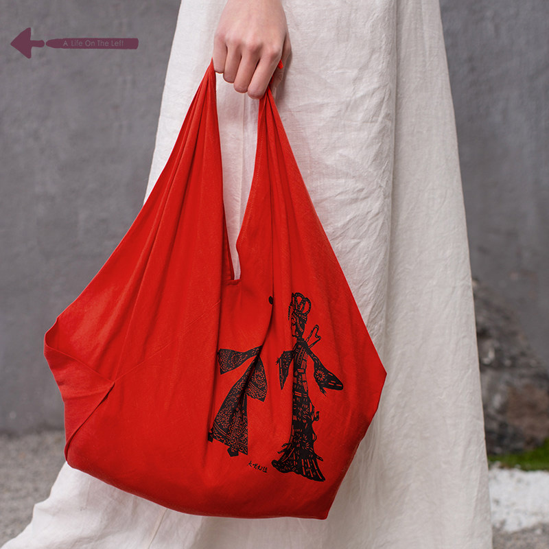 Enthetic Style Casual Soft Hand Bag Shadow Figures Printing Linen Blended Fabric Super Light Bag Ladies