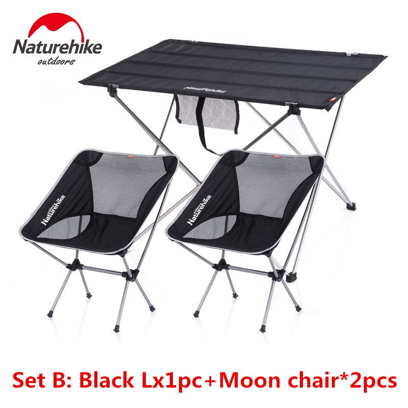 NatureHike Outdoor Camping Hiking ultralight folding table stool set Travel Wild Dining Picnic table set A N