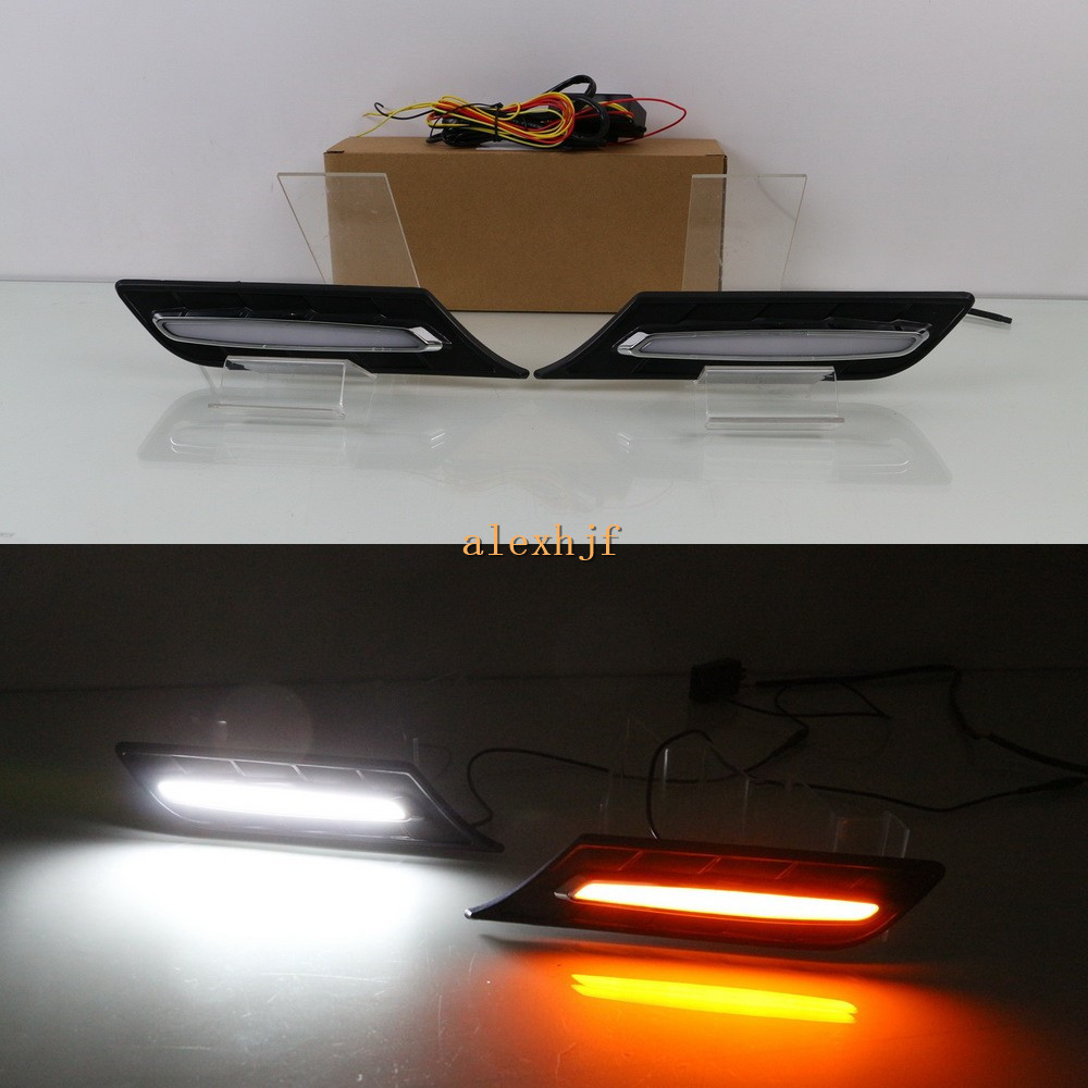 July King Car Fender LED Light Guide Side Daytime Running Light DRL Yellow Side Turn Signals Light Case for Suzuki Vitara 2015+ july king led light guide front bumper daytime running lights drl with yellow turn signals case for toyota camry 2015 7 type