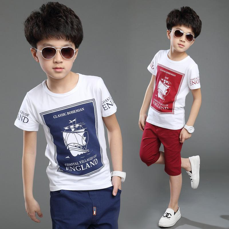 3-15 Years Boys Suits 2017 Summer New Casual Children Clothing Set Cotton T-shirt Shorts Toddlers Teens Kids Boys Clothes