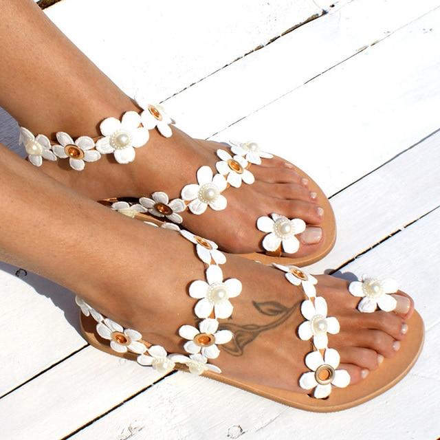 Women Sandals Bohemia Style Summer Shoes For Women Flat Sandals Beach Shoes 2020 Flowers Flip Flops Plus Size Chaussures Femme 2