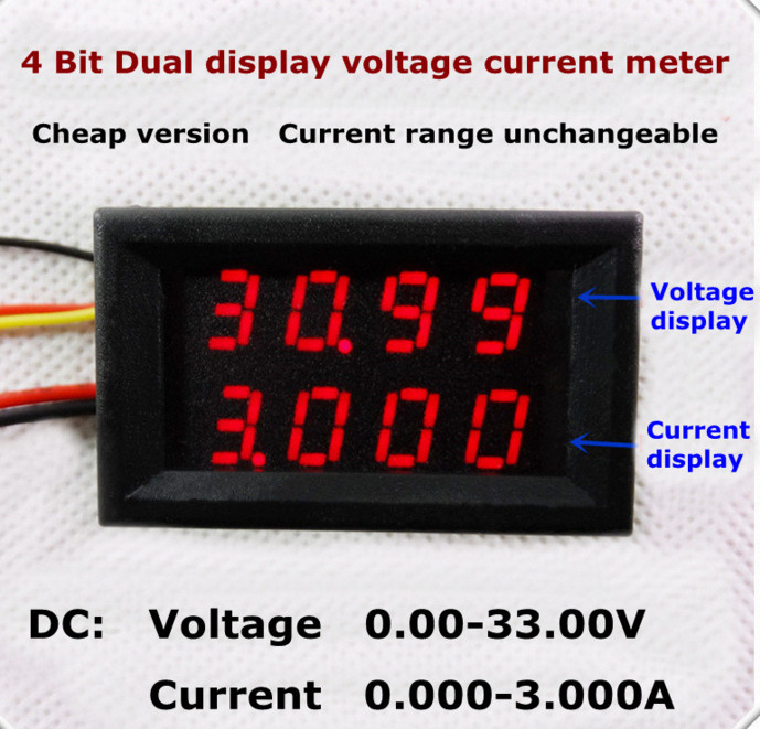 New 0.28 inch 4 Bit Bual display Ammeter Voltmeter Voltage Current Monitor Meter Tester Amp Volt  for car battery DC 0.00-33.00V dual usb current voltage charger detector battery tester voltmeter ammeter 6412